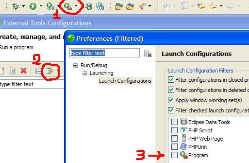 In Zend Studio remove the filters that hide the Program item